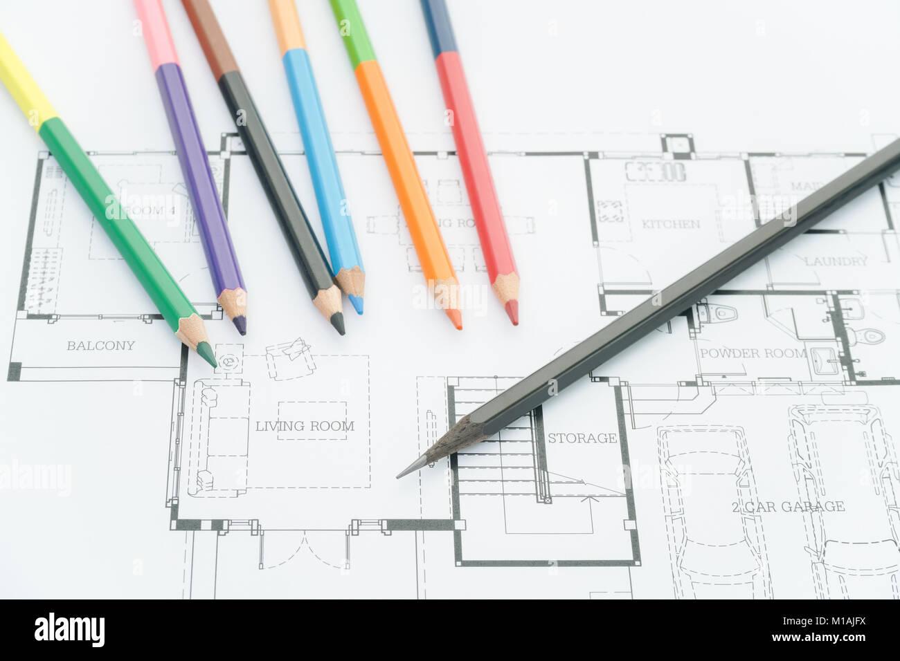 Architekten Arbeitsplatz   Architekturentwürfe, Architektonische  Zeichnungen Der Modernes Haus Mit Buntstifte. Stockbild
