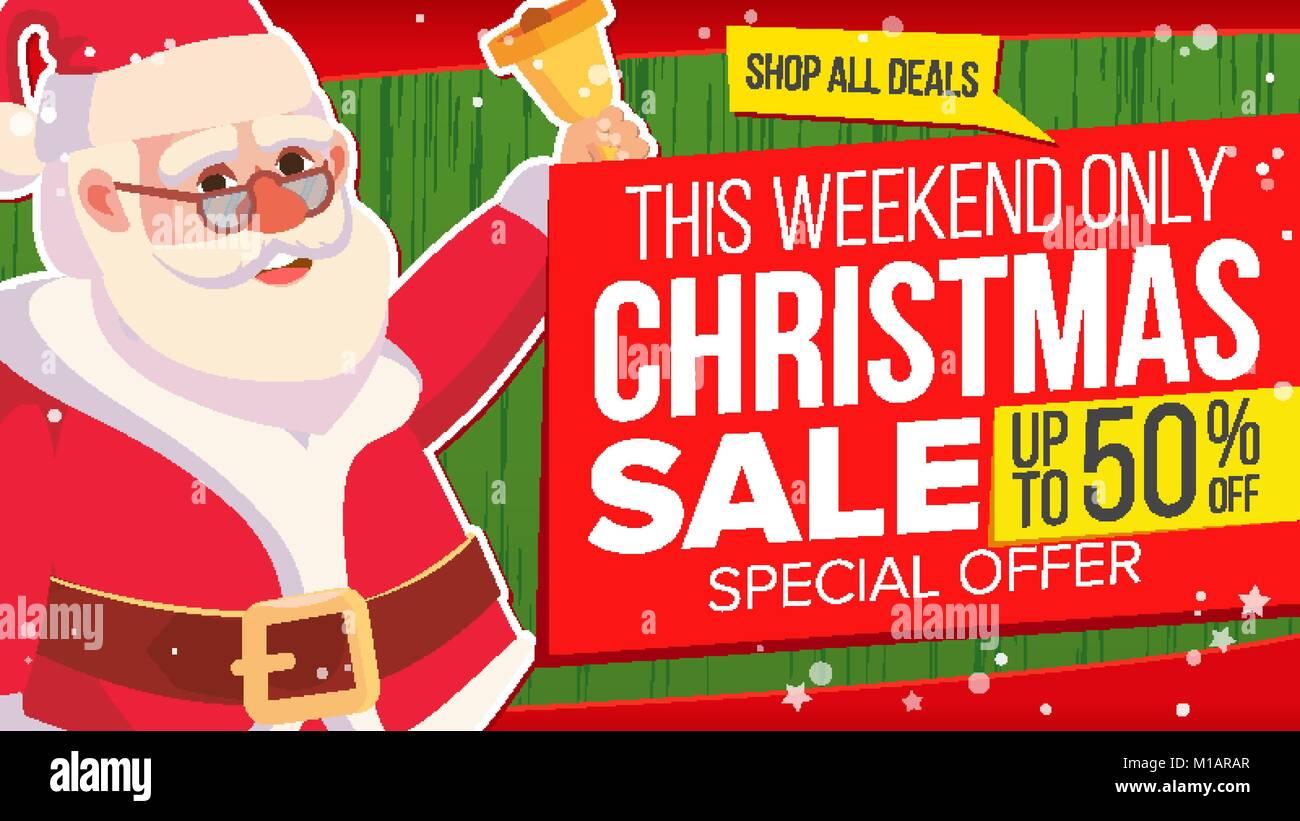 Big Weihnachten Verkauf Banner mit Santa Claus. Vektor. Verkauf ...