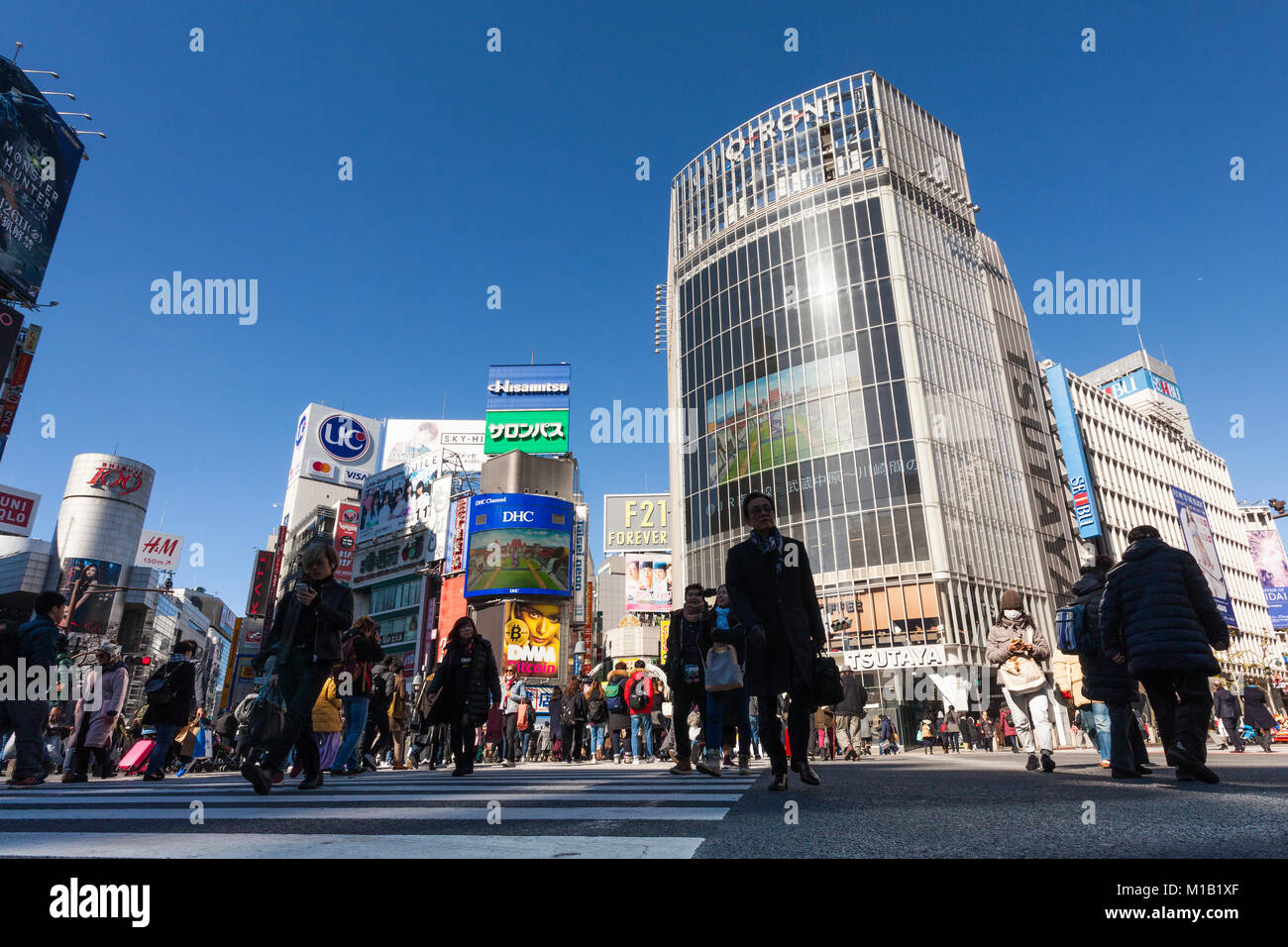 Shibuya Crossing in Tokio, Japan. Freitag, 26. Januar 2018 Stockbild