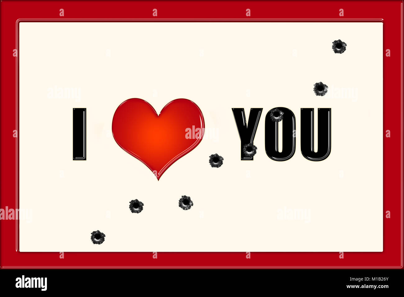 Ich liebe dich Titel auf beigem Hintergrund und roter Rahmen mit ...