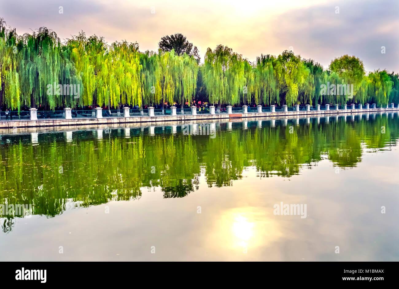 Moat Canal Gugong Verbotene Stadt Graben Canal Plaace Wand Beijing China. Der Kaiserpalast in den 1600er Jahren Stockbild
