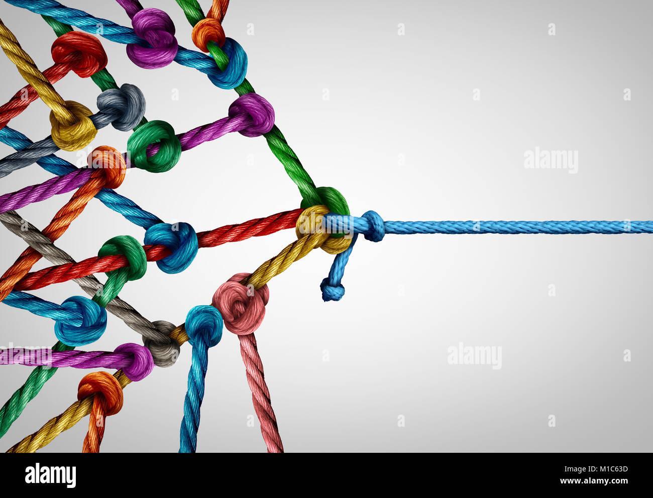Gegen viele Business Konzept als ein Underdog einzigen Seil ziehen in ein Tauziehen mit einer großen Gruppe Stockbild
