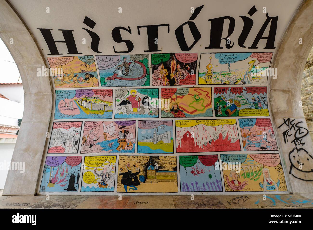 Zeichnungen, Geschichte, Alfama, Lissabon, Portugal, Zeichnungen, Photographie, Lissabon Stockbild