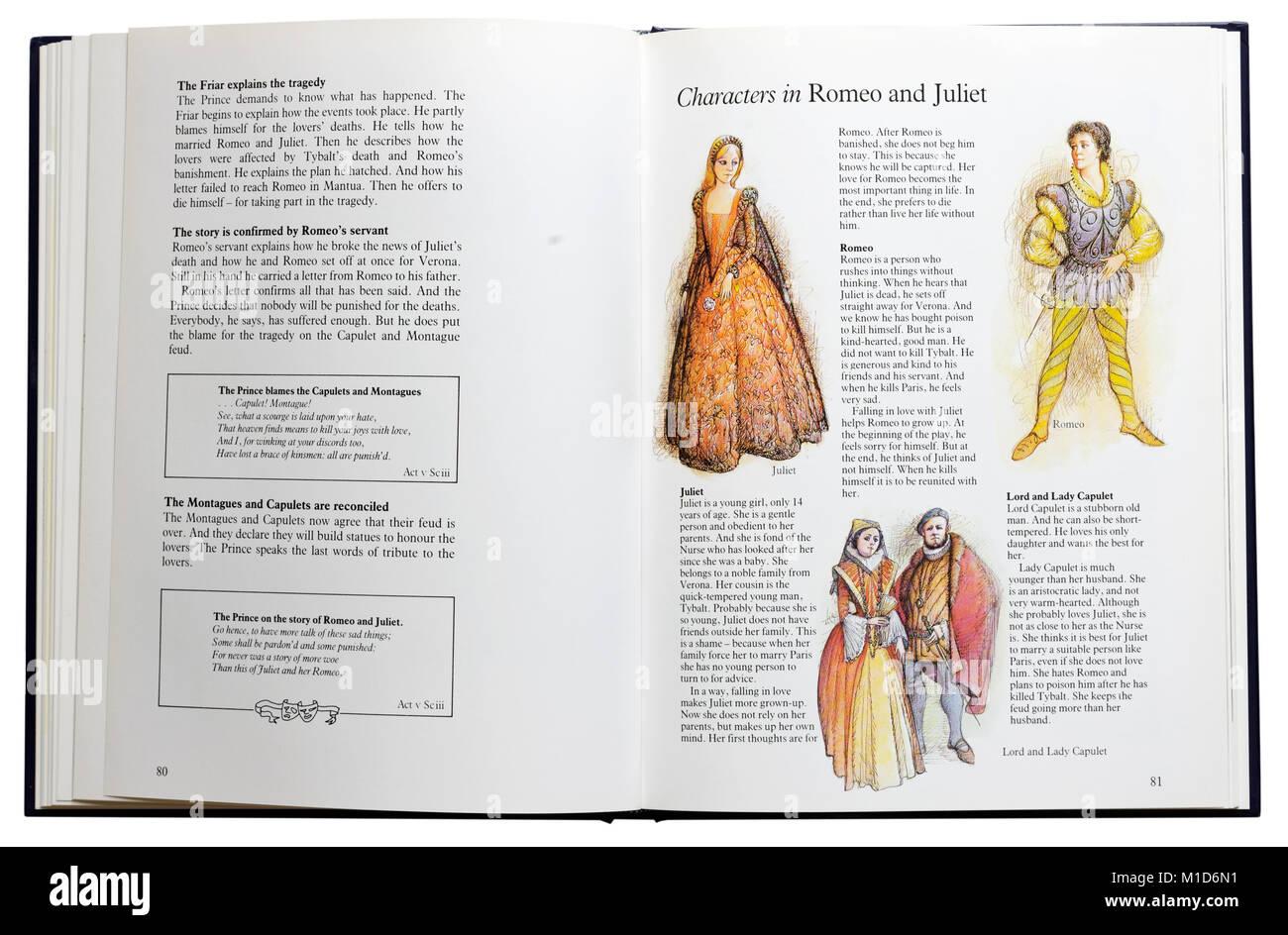 Ein Bildband von Shakespeares Dramen geöffnet an der Zeichen in Romeo und Julia Stockbild