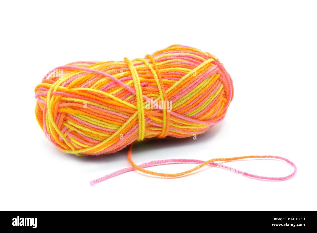 Wolle Ball In Orange Gelbe Farbe Für Stricken Und Häkeln Handworks