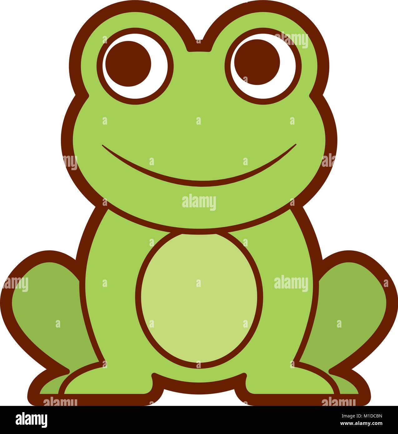 Frosch niedliche tier sitzen cartoon vektor abbildung bild 173013449 alamy - Frosch auf englisch ...