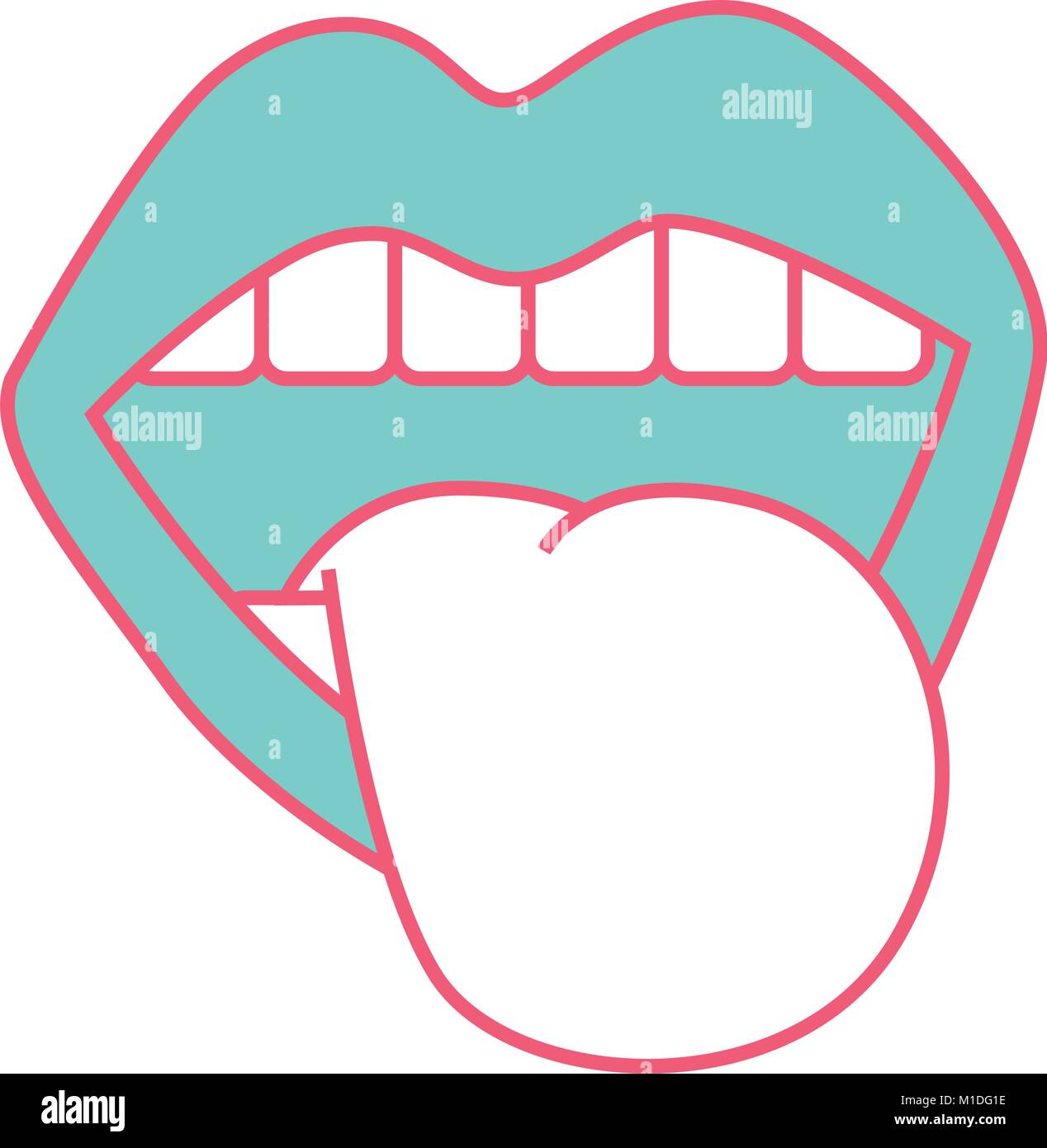 Mund Zunge heraus, vintage Emblem Vektor-illustration grüne und rote ...