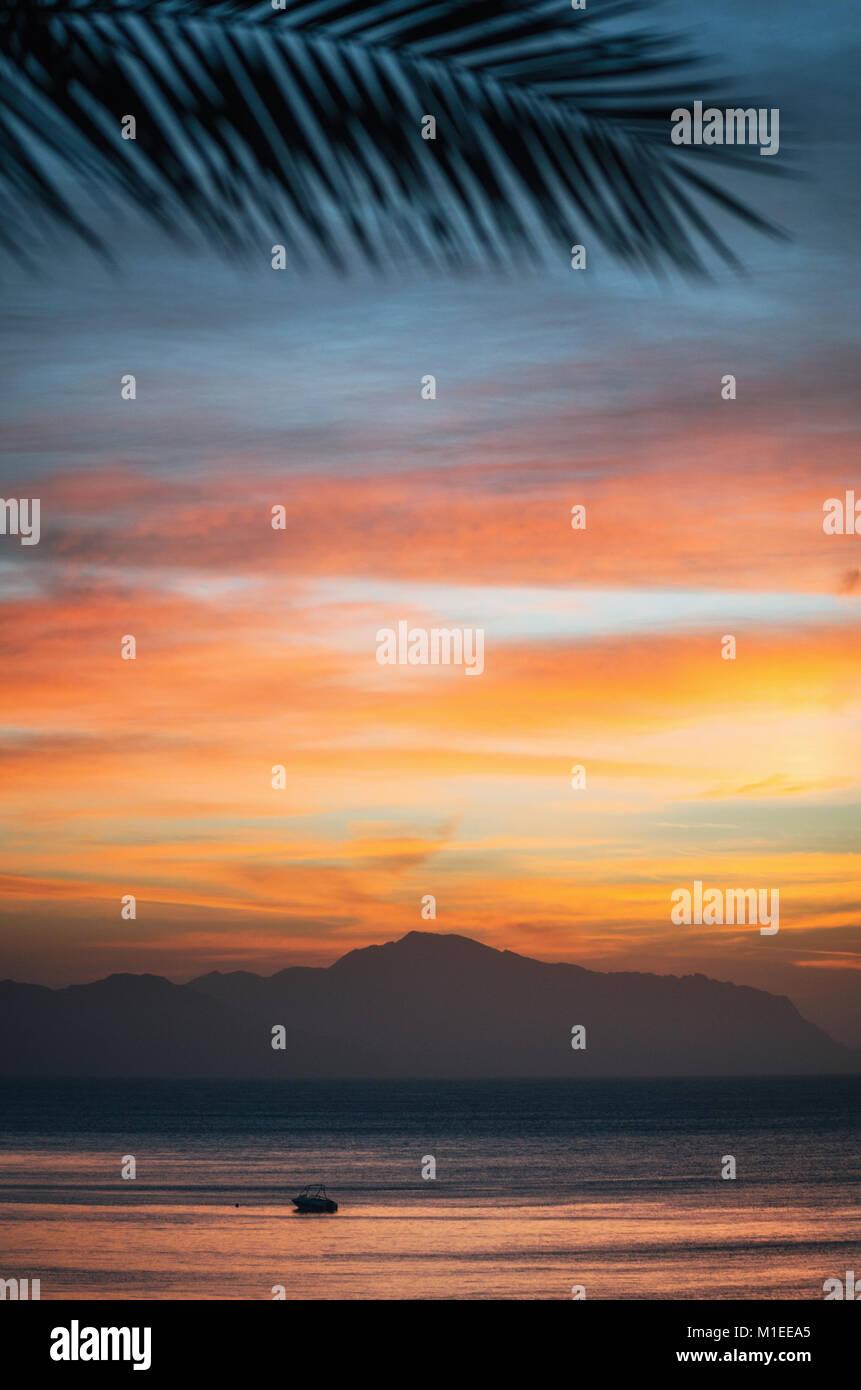 Warme Bunte sunrise auf die Insel Tiran mit Palm Niederlassung in Sharm El-Sheikh, Ägypten. Stockbild