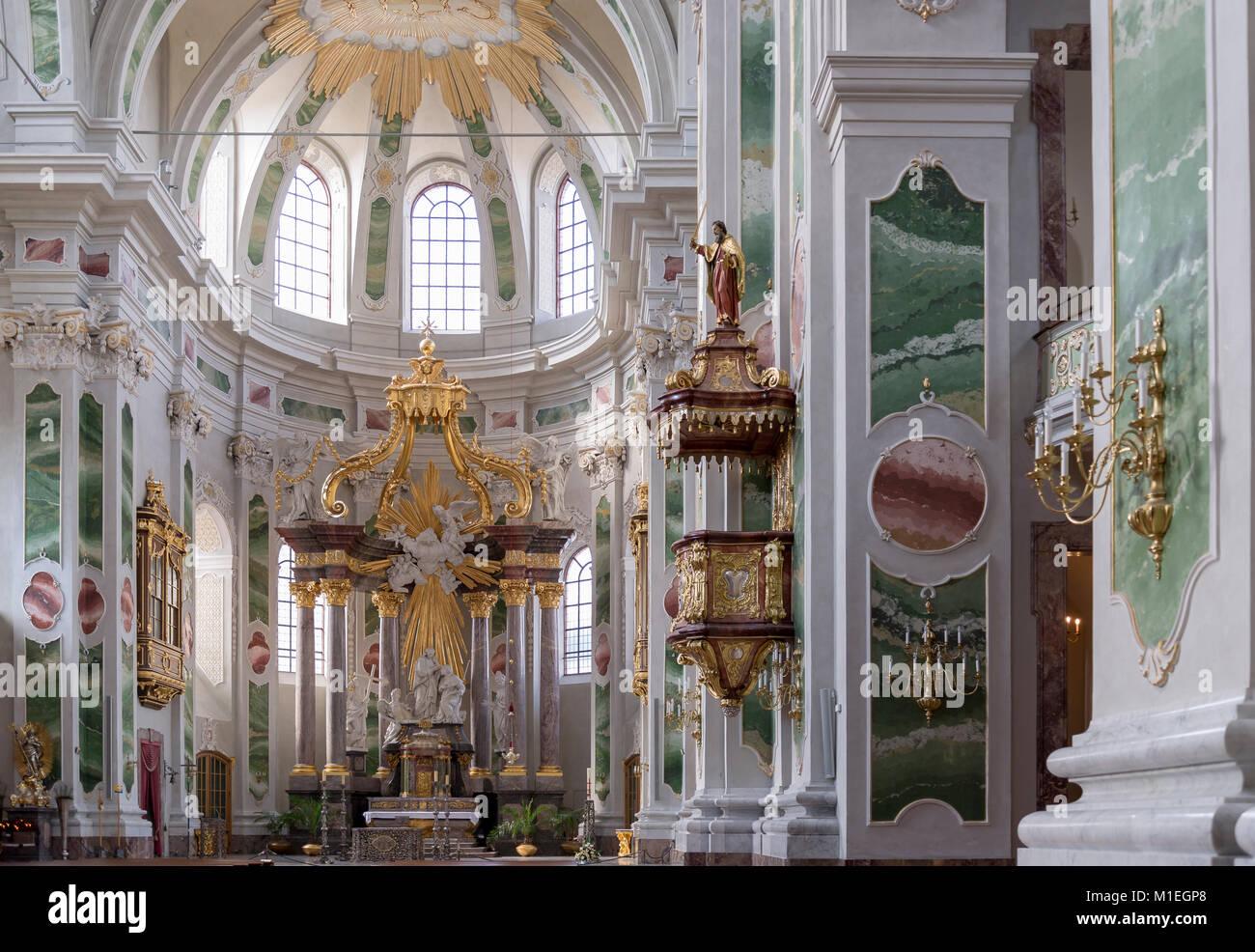 Mannheim, Jesuitenkirche St. Ignatius und Franz Xaver ehemalige Hofkirche Stockbild