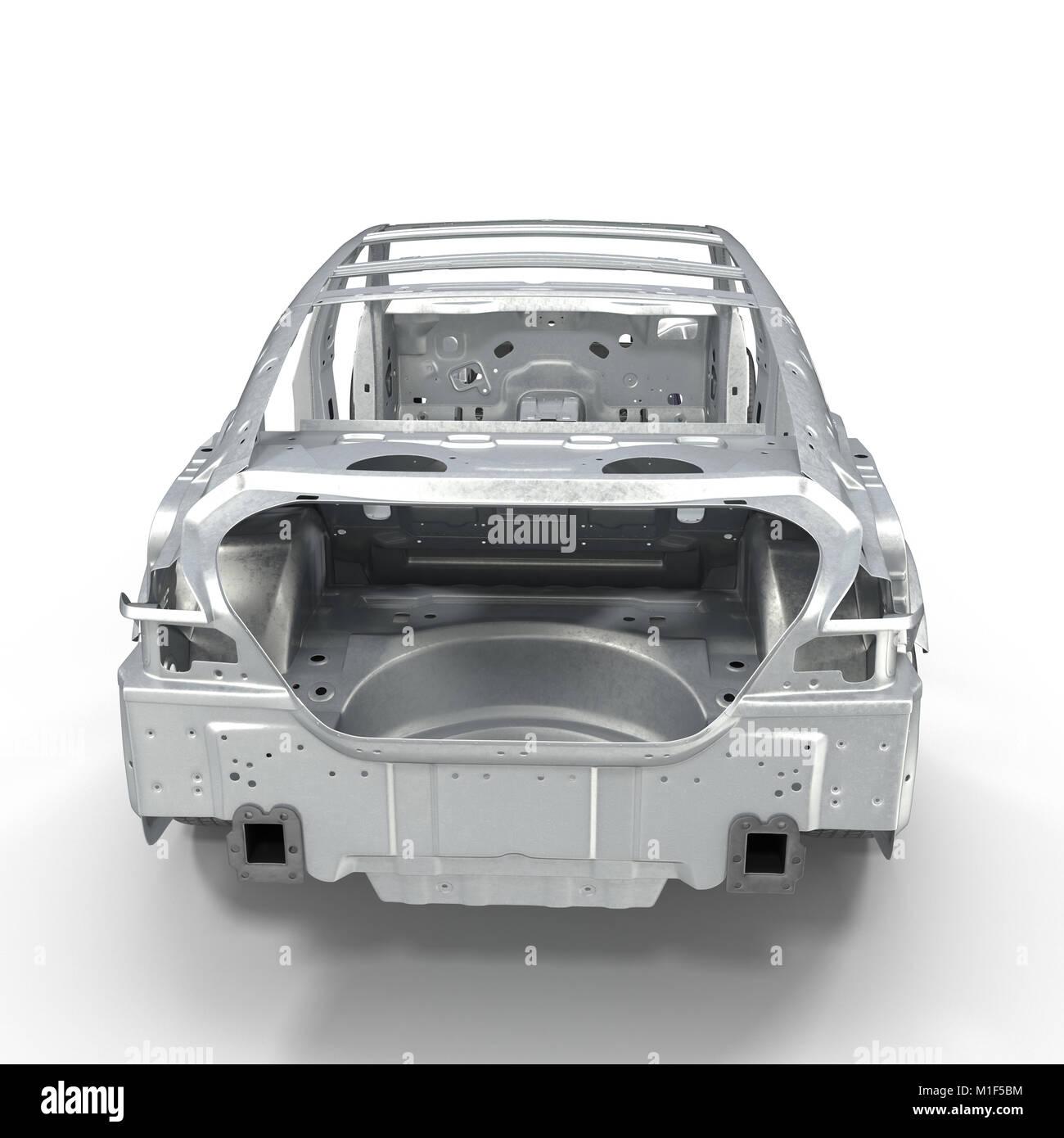 Auto Rahmen mit Chassis auf Weiß. 3D-Darstellung Stockfoto, Bild ...