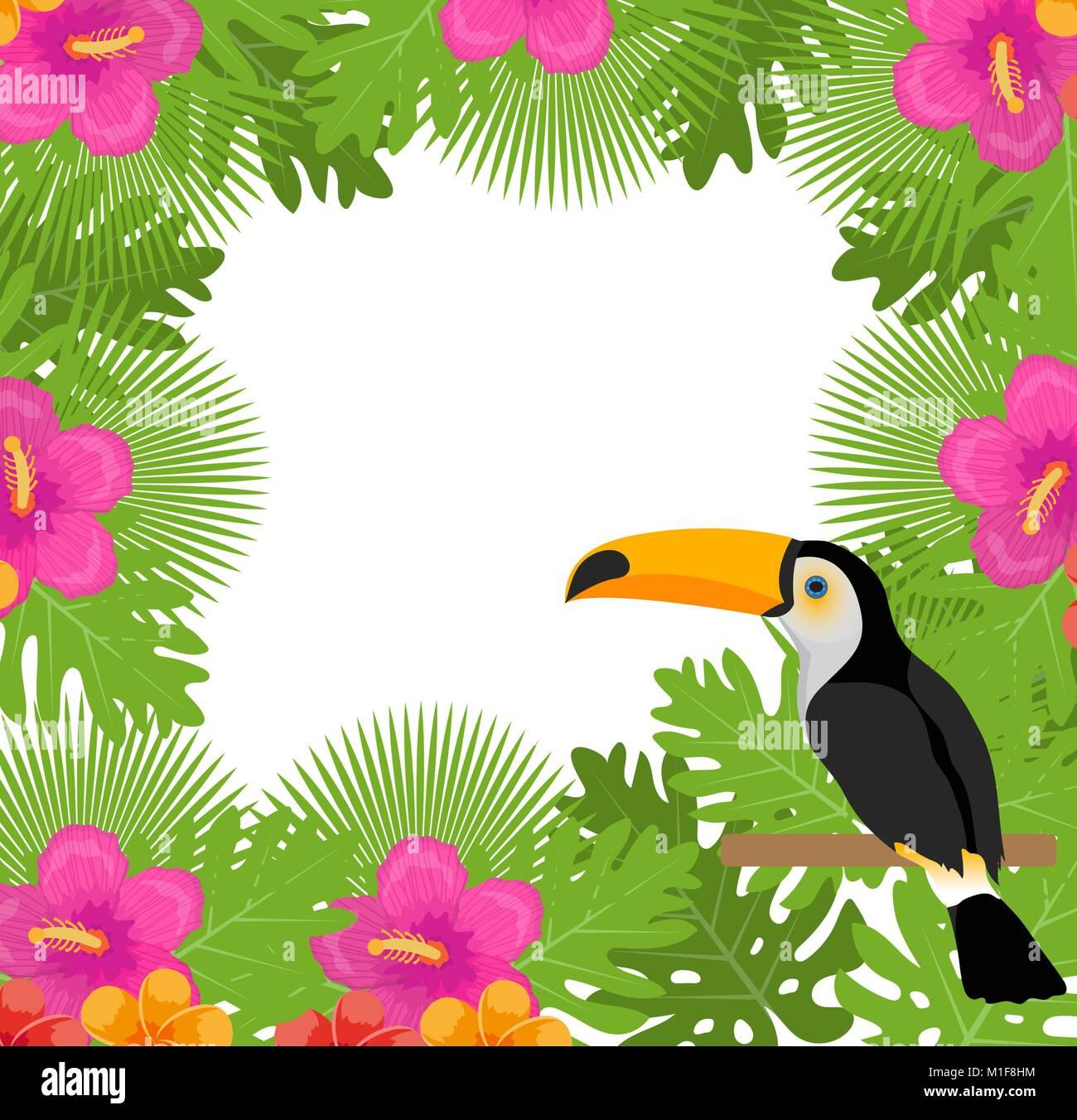 Tropische Rahmen mit Blumen, Pflanzen und Vögel toucan. Sommer ...