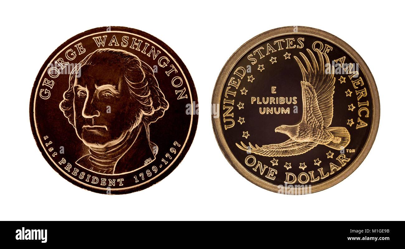 Usa 1 Dollar Münze George Washington Auf Weissem Hintergrund