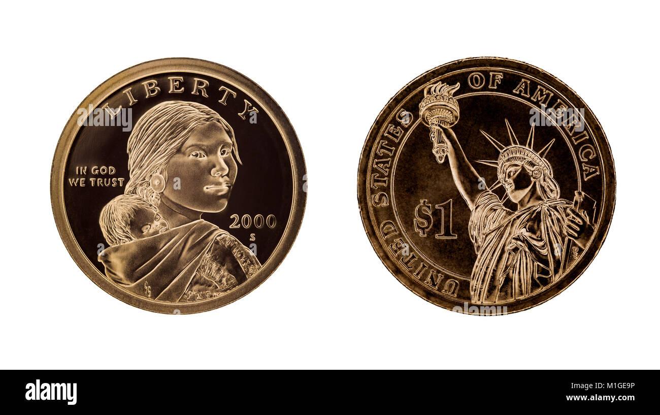 Usa 1 Dollar Münze Sacagawea Und Die Freiheitsstatue Auf Weissem