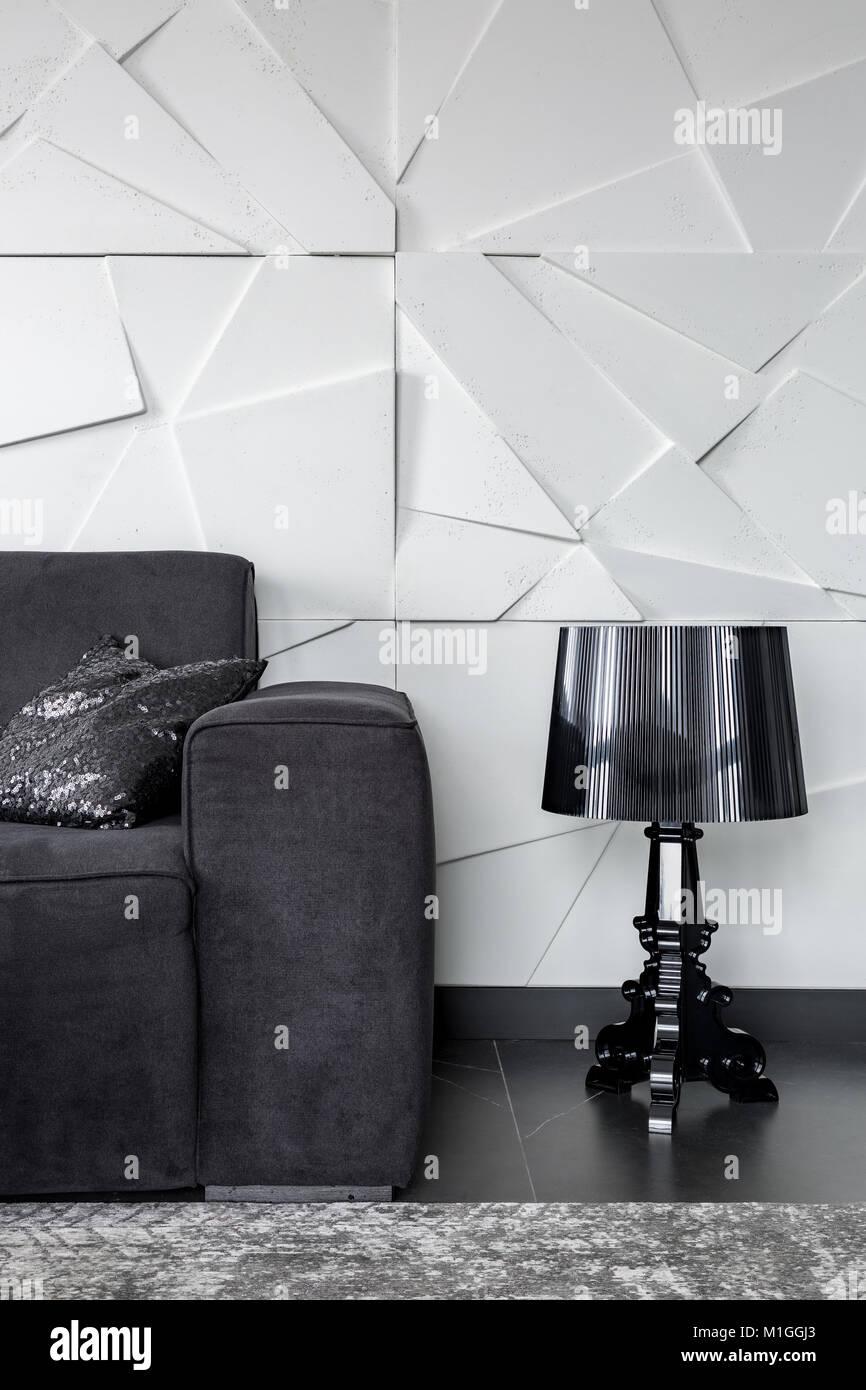 Apartment Mit 3d Wand Textur Couch Und Fancy Schwarze Lampe