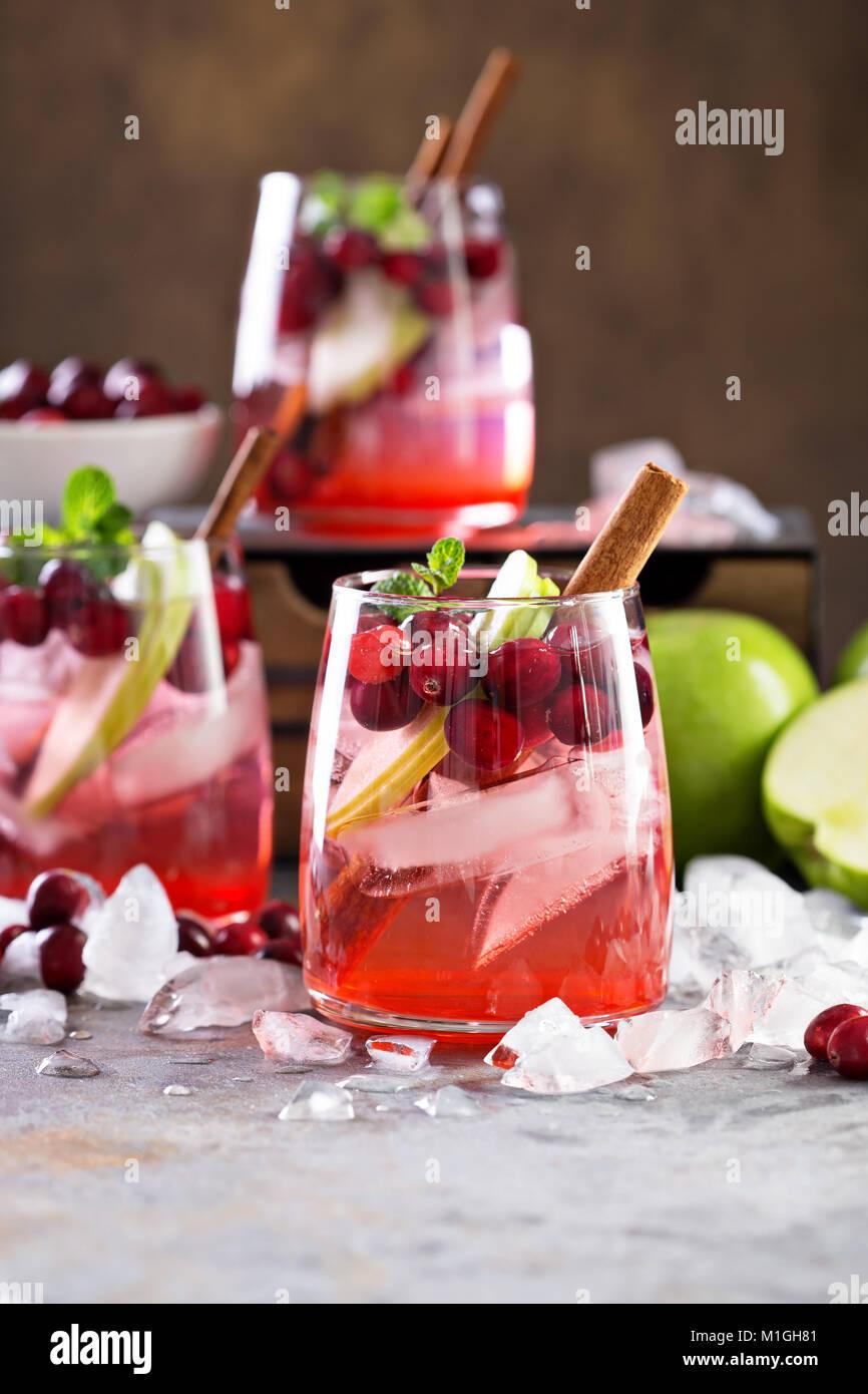 Kalte Winter Cocktail mit frischen Cranberry und grüner Apfel Stockbild