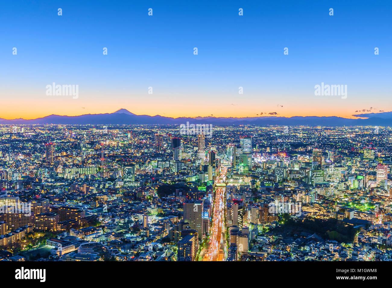 Antenne Stadtbild Blick Tokyo Japan Stockfoto