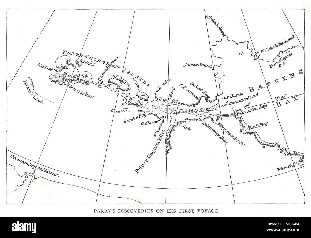 Karte von Parry's Entdeckungen auf seiner ersten Reise 1819 Arktis Stockbild
