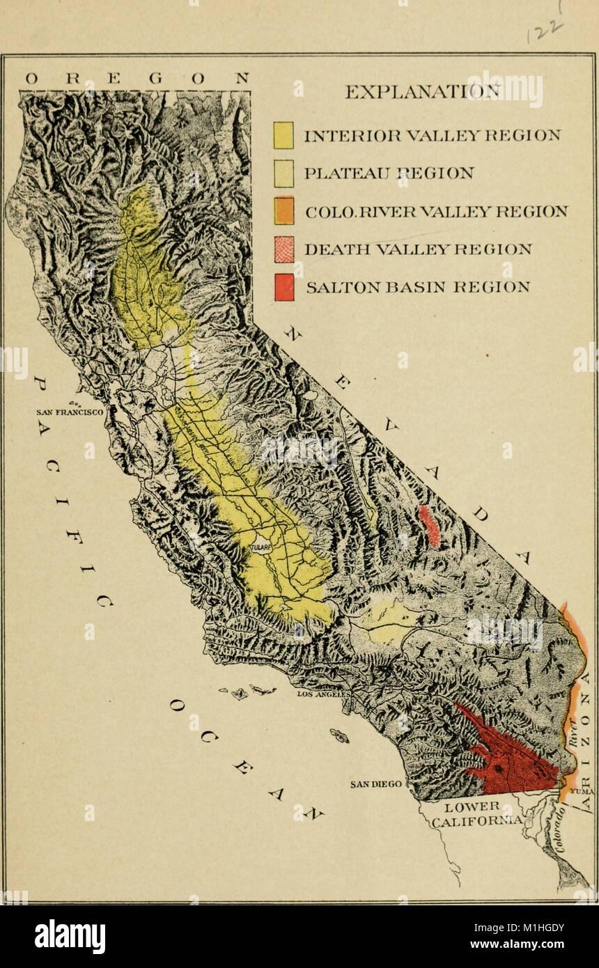 Reliefkarte Von Kalifornien Usa Mit Schattierung Physischen