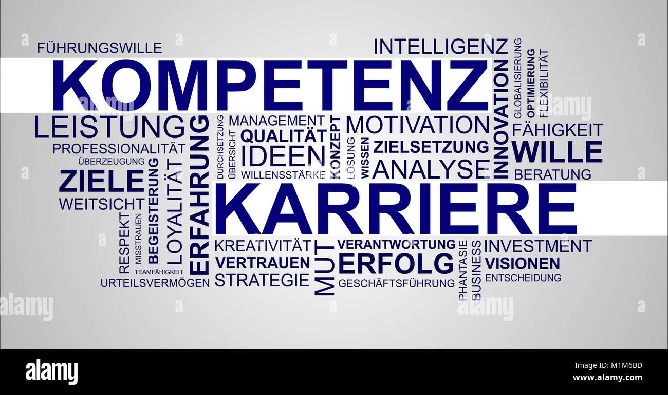 Wortwolke zu Kompetenz und Karriere Stockbild