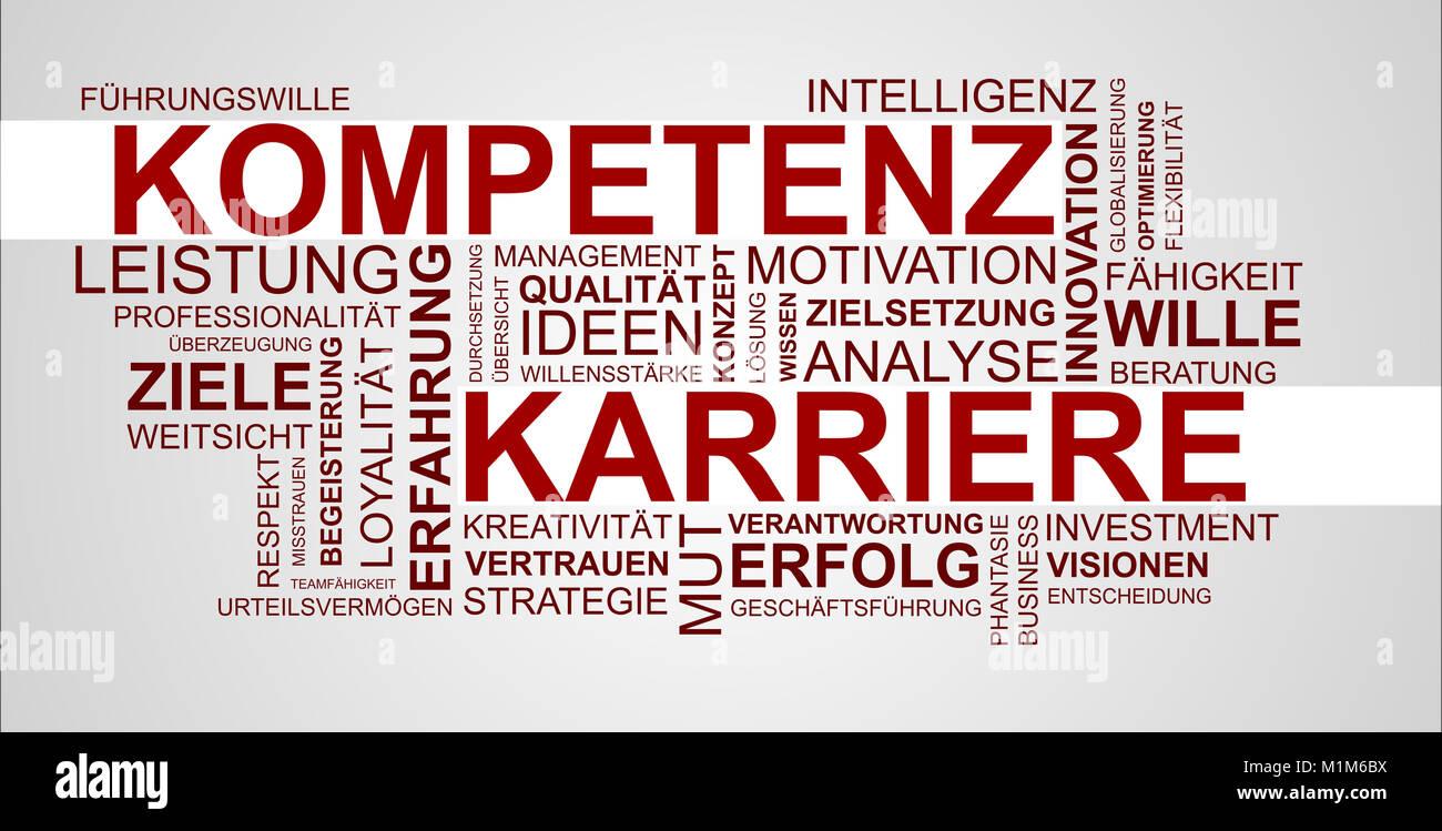 Wortwolke zu Kompetenz und Erfahrung im Beruf Stockbild