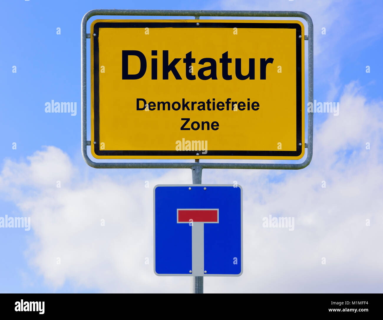 Diktatur in der Demokratiefreien Zone Stockbild