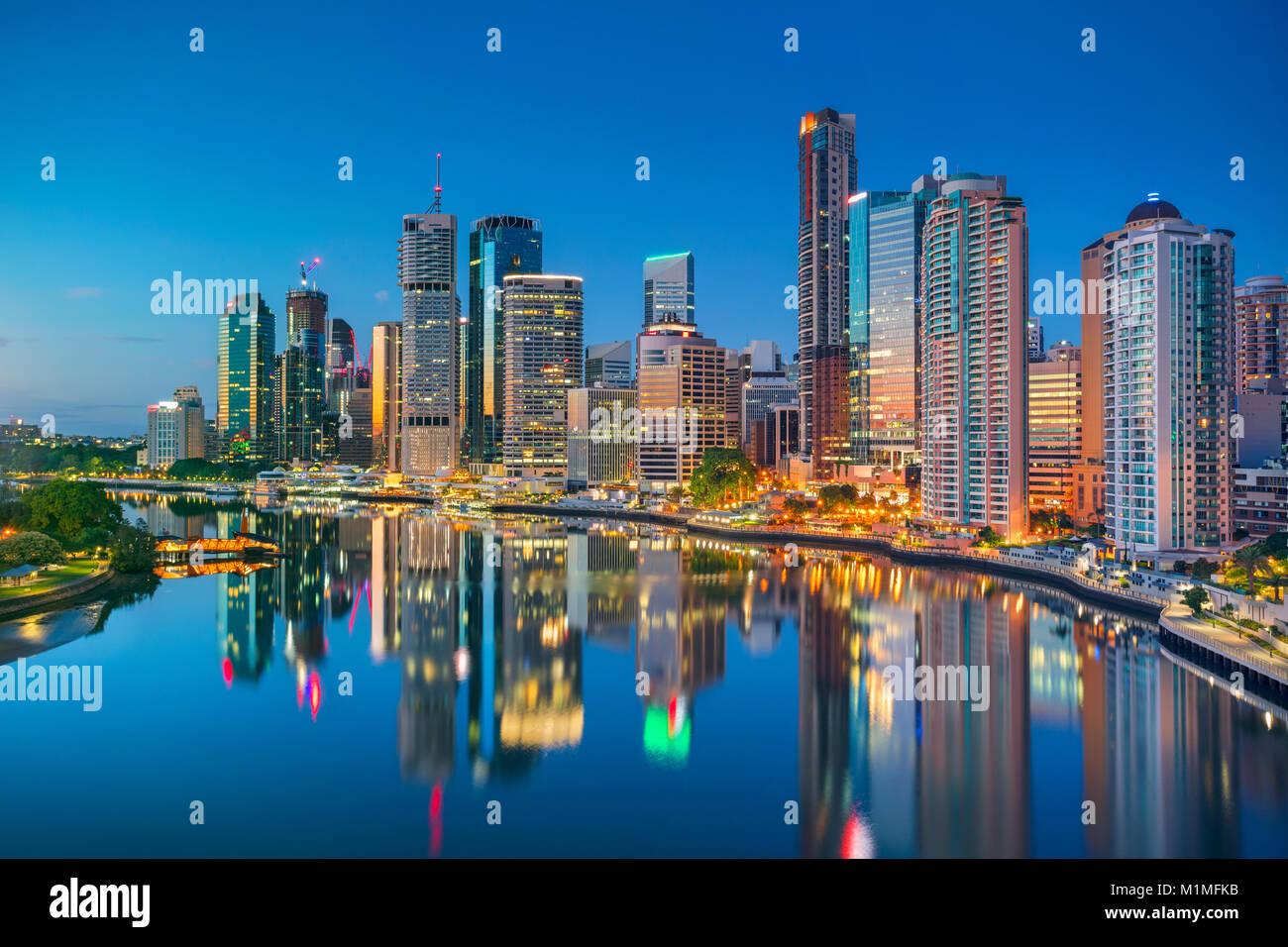 Brisbane. Stadtbild bild Skyline von Brisbane, Australien bei Sonnenaufgang. Stockbild