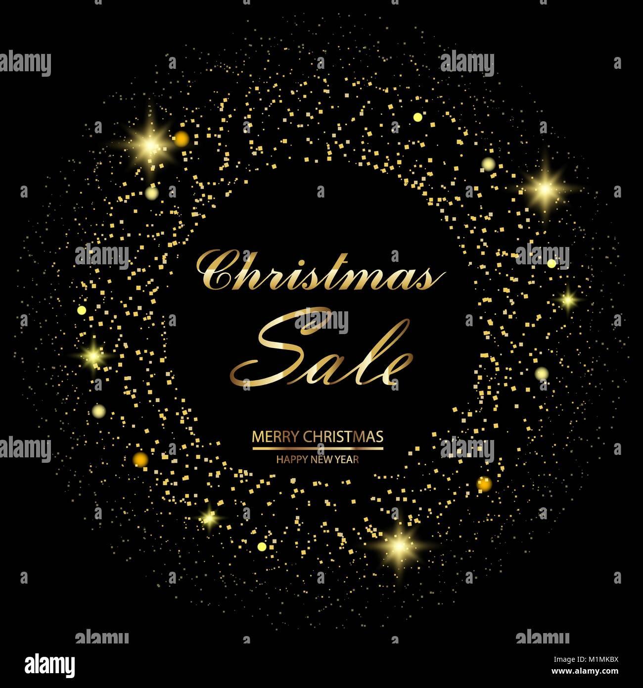 Weihnachten Verkauf Hintergrund mit goldenen Sternen und funkelt auf ...