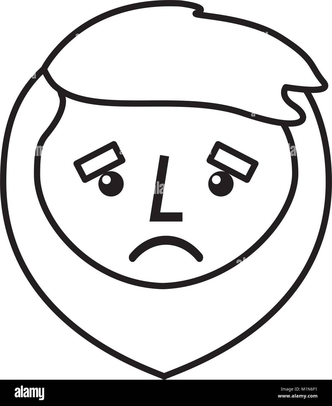 Cartoon Trauriges Gesicht Mann Bart Zeichenkontur Vektor Abbildung