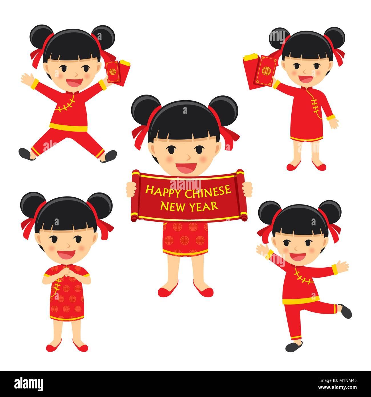 Frohes chinesisches neues Jahr Mädchen in traditioneller Kleidung zu ...