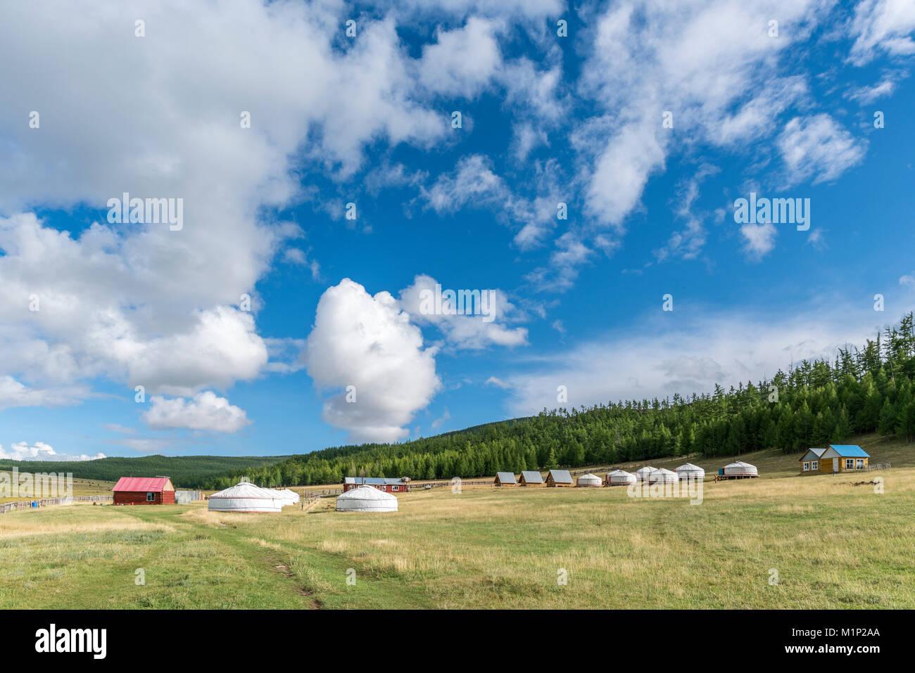 Touristische Ger camp, Burentogtokh Bezirk, Provinz Hovsgol, Mongolei, Zentralasien, Asien Stockbild