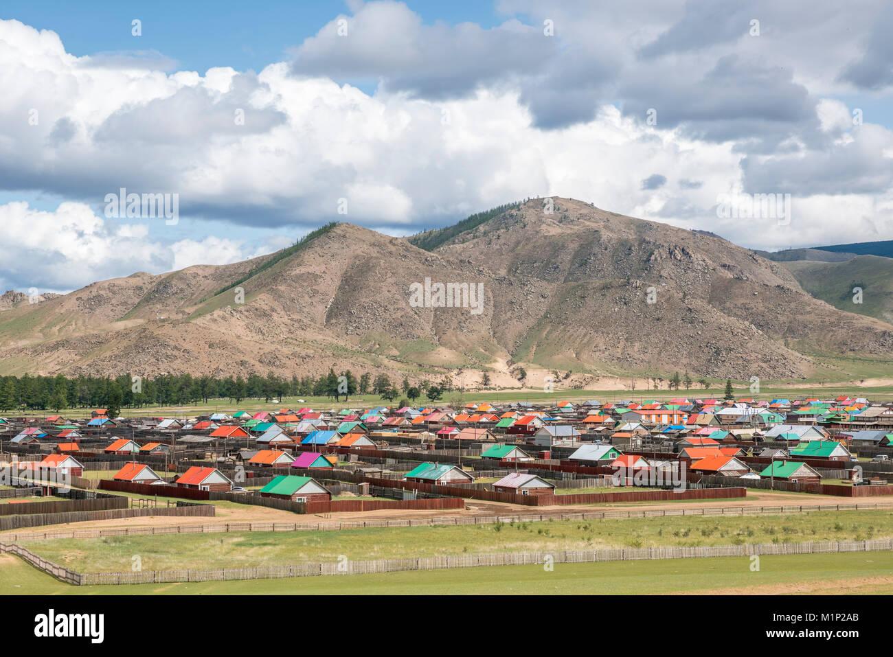 Die Stadt Orgil, Jargalant Bezirk, Provinz Hovsgol, Mongolei, Zentralasien, Asien Stockbild