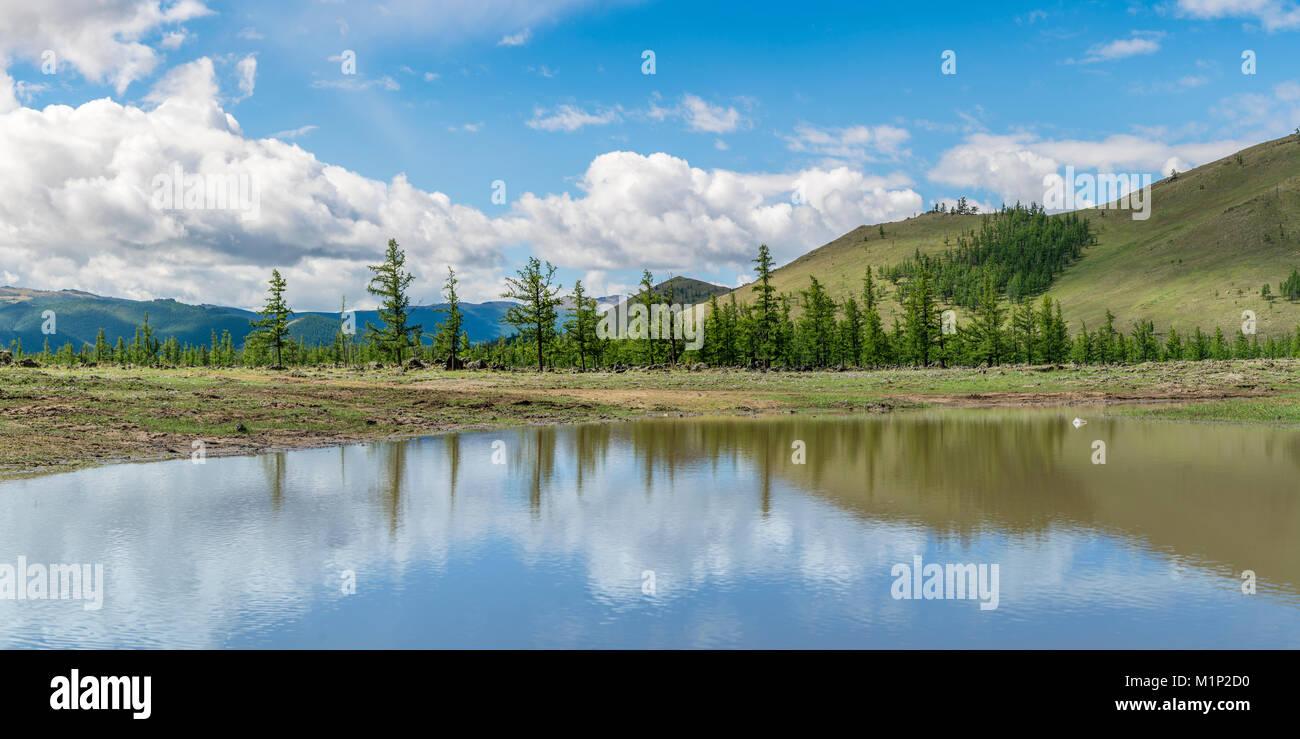 Wasser Teich und Tannen in White Lake National Park, Proletariats Bezirk,Hangay Provinz, Mongolei, Zentralasien, Stockbild