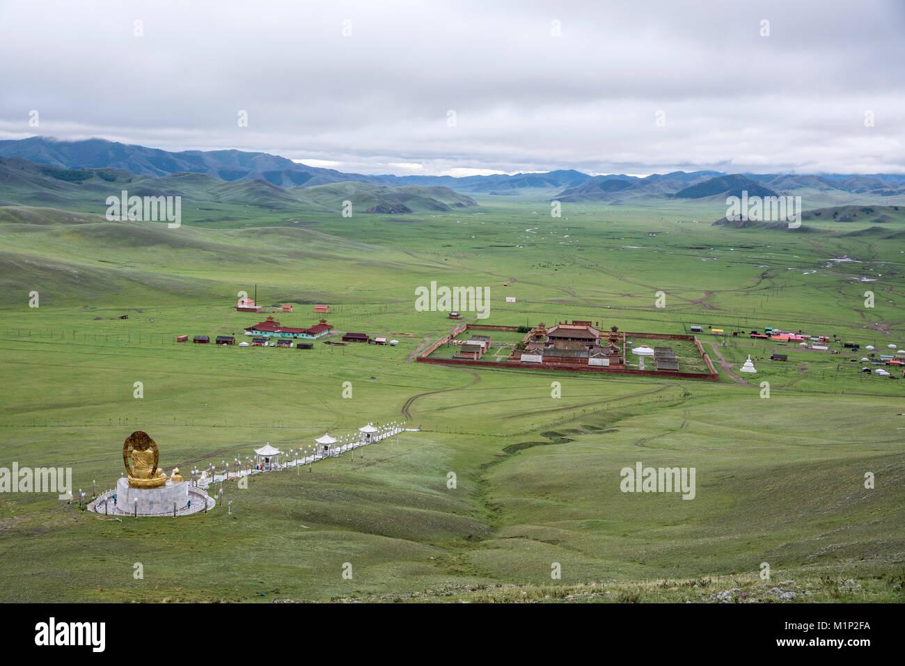 Amarbayasgalant Kloster von oben, Mount Baruunburen Buren-Khaan, Bezirk, Provinz Selenge, Mongolei, Zentralasien, Stockbild