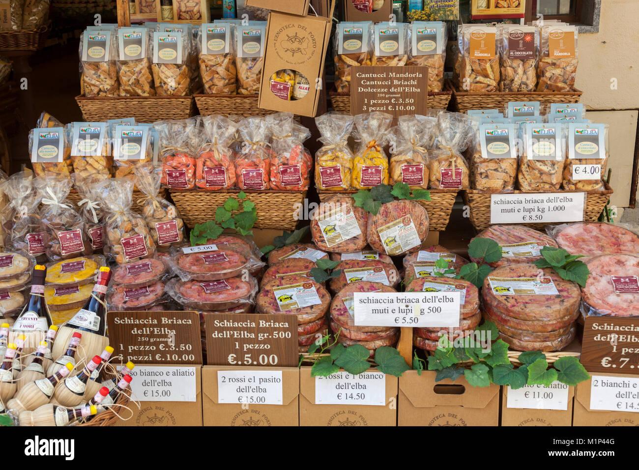 Shop von lokalen Wein und Essen, Marina di Campo, Insel Elba, Livorno Provinz, Toskana, Italien, Europa Stockbild