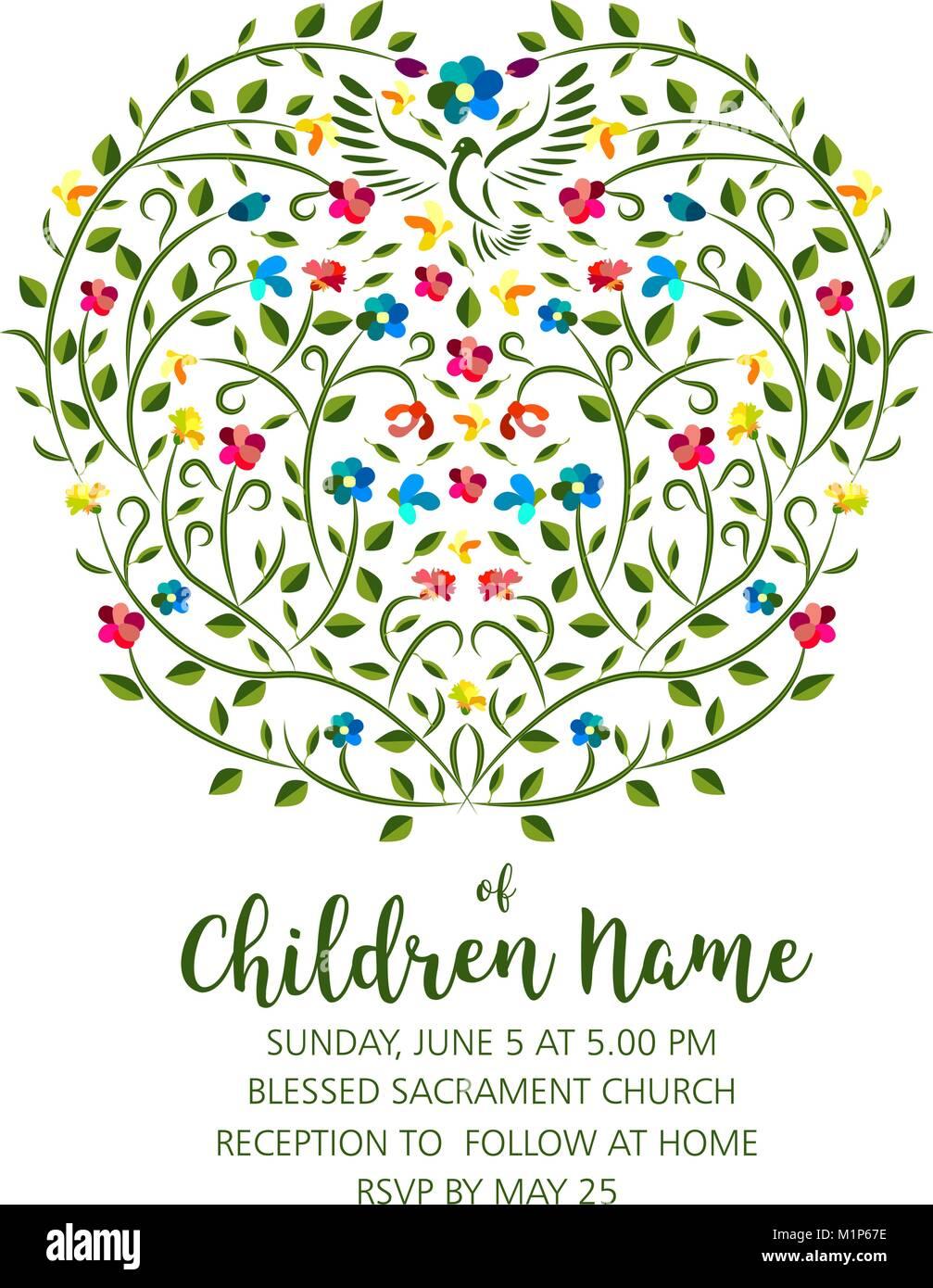 Taufe Einladen Einladung Vorlage Mit Taube Und Blumen Die