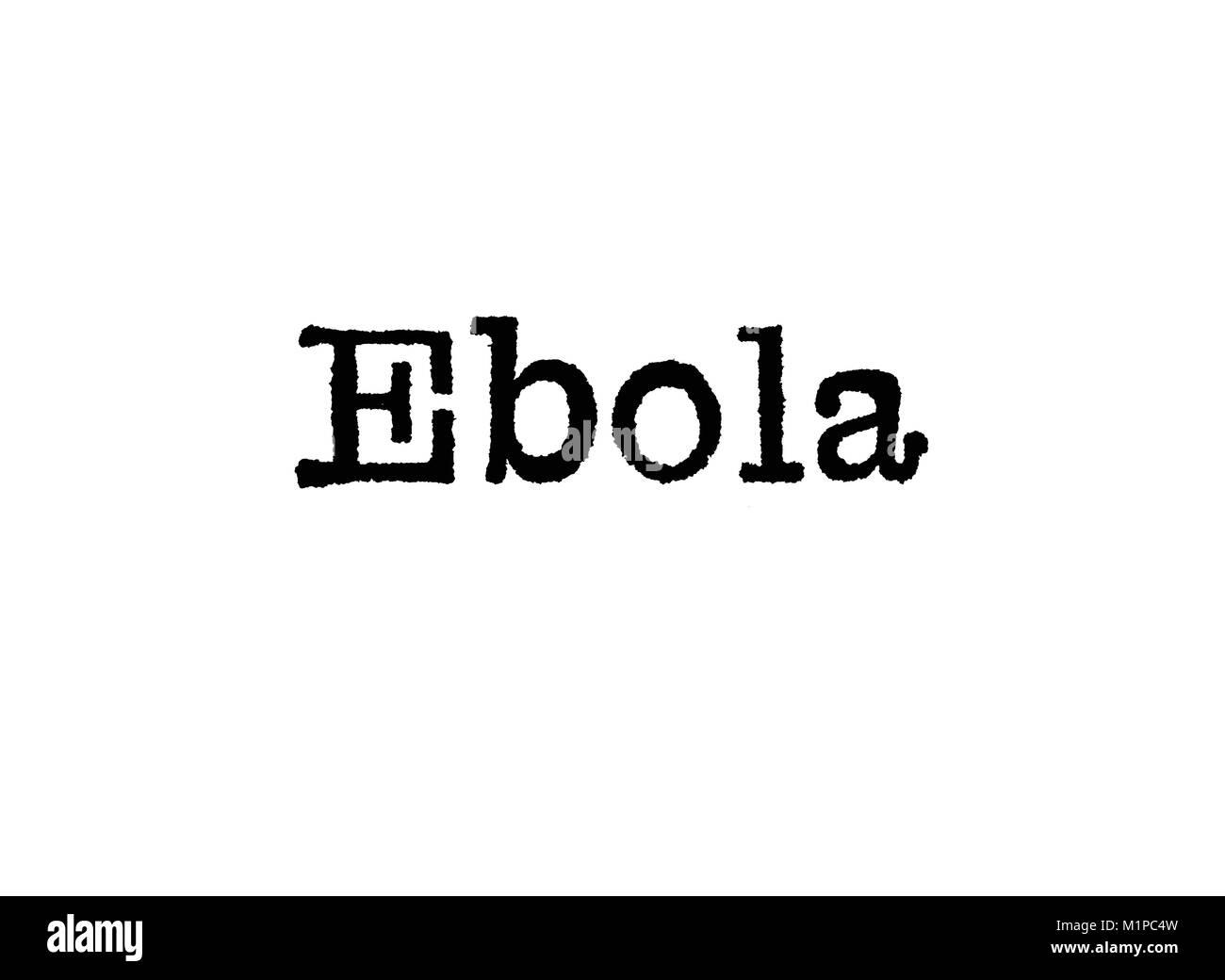 Das Wort Ebola aus einer Schreibmaschine auf weißem Hintergrund Stockbild