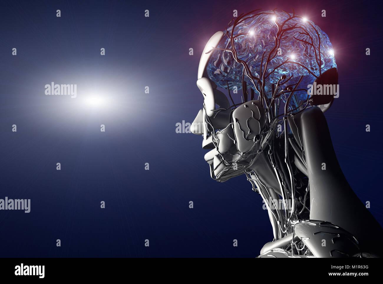 3D-Render, die das Konzept der Künstlichen Intelligenz Stockfoto