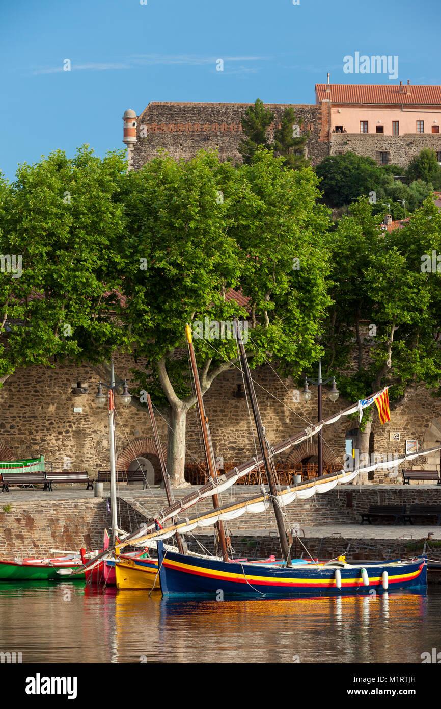 Bunte Segelboote in den kleinen Hafen von Collioure, Royal, Frankreich Stockfoto