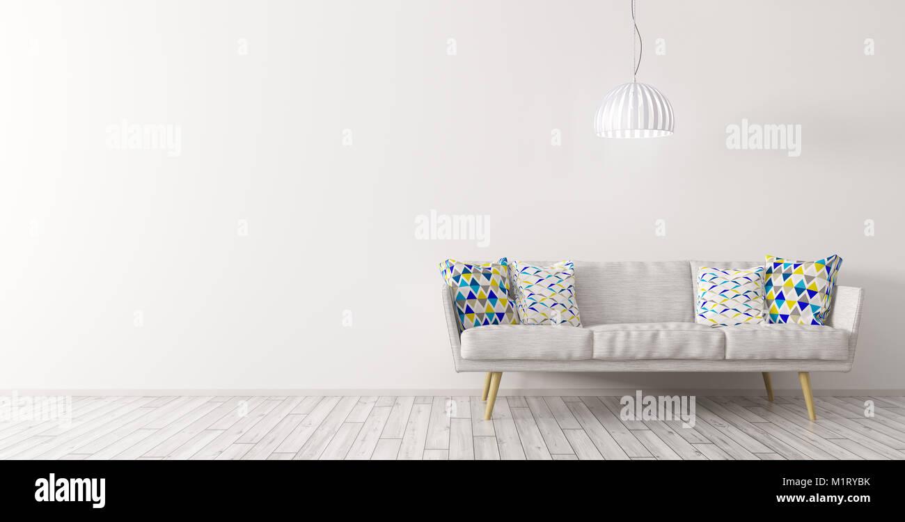 Modernes Interieur Aus Wohnzimmer Mit Weissen Sofa Und Deckenleuchte