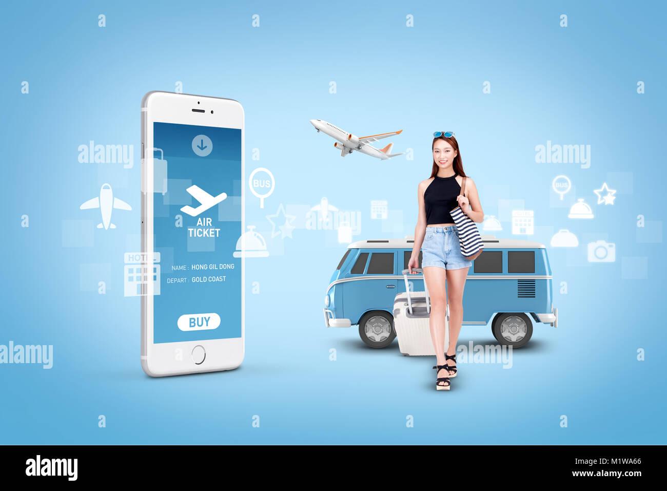 Abbildung - mobile Technologie, eng beziehen sich auf das alltägliche Leben. 003 Stockbild