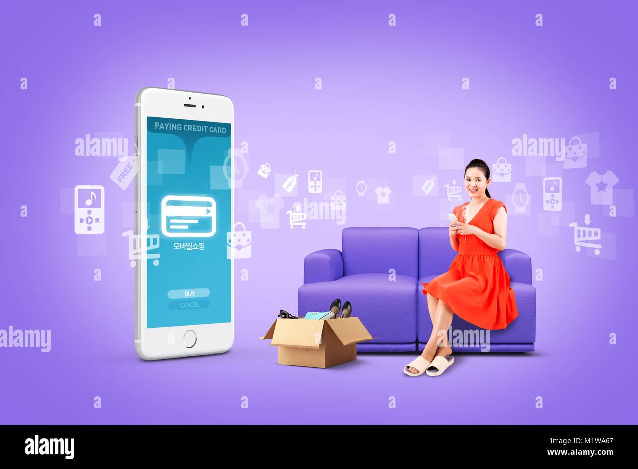 Abbildung - mobile Technologie, eng beziehen sich auf das alltägliche Leben. 004 Stockbild