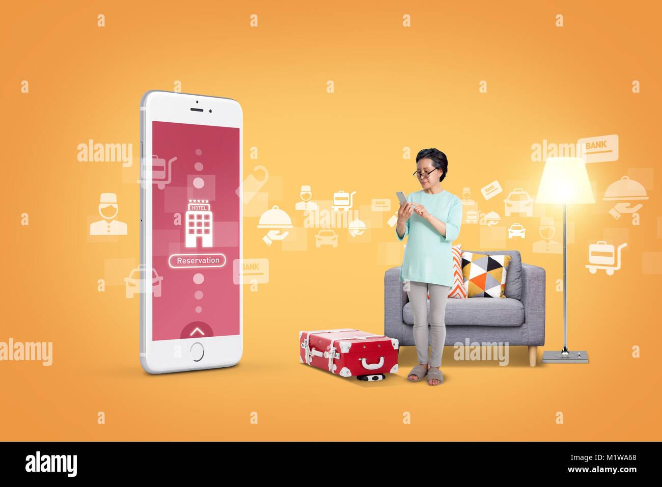 Abbildung - mobile Technologie, eng beziehen sich auf das alltägliche Leben. 005 Stockbild