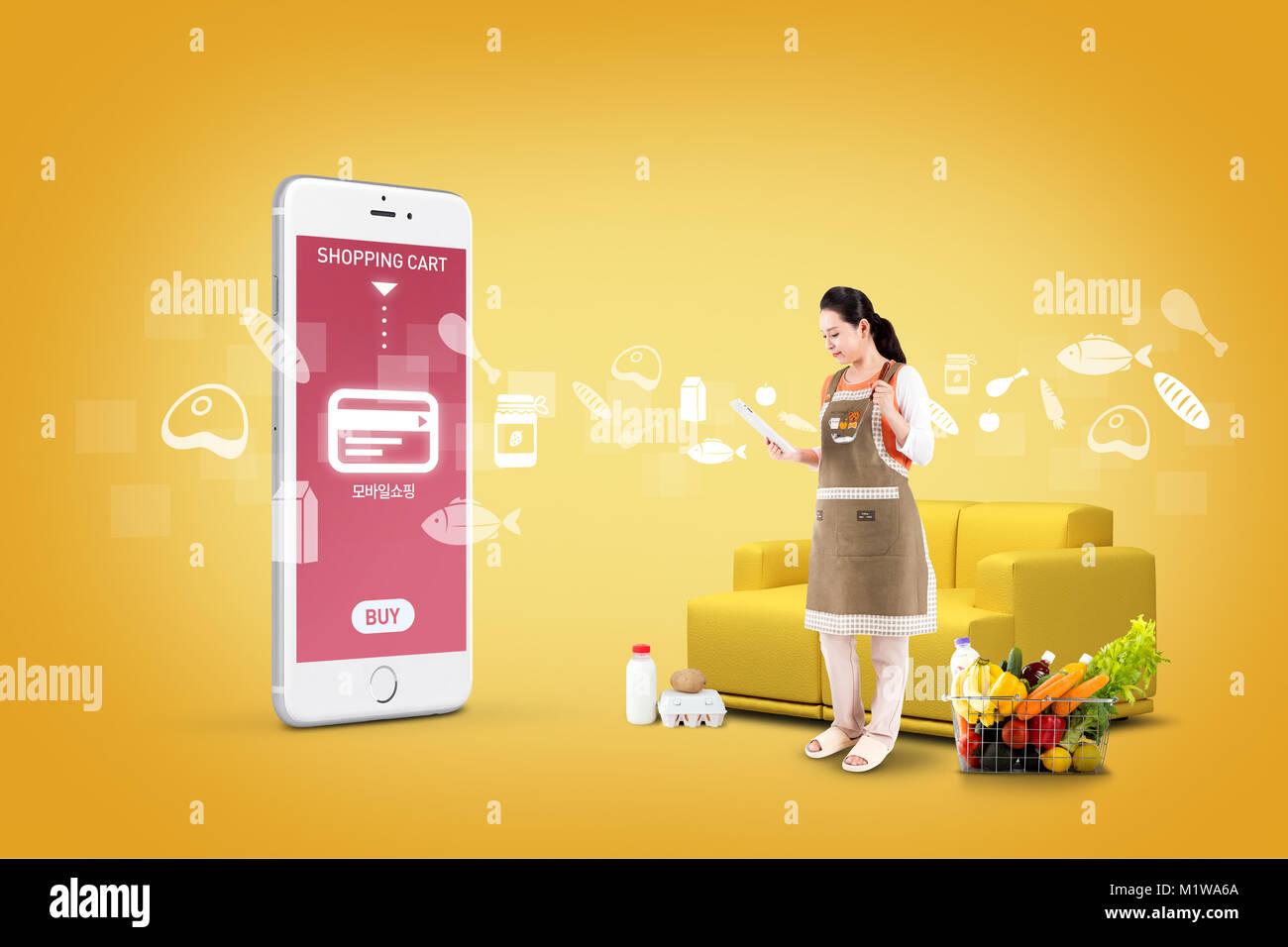 Abbildung - mobile Technologie, eng beziehen sich auf das alltägliche Leben. 007 Stockbild