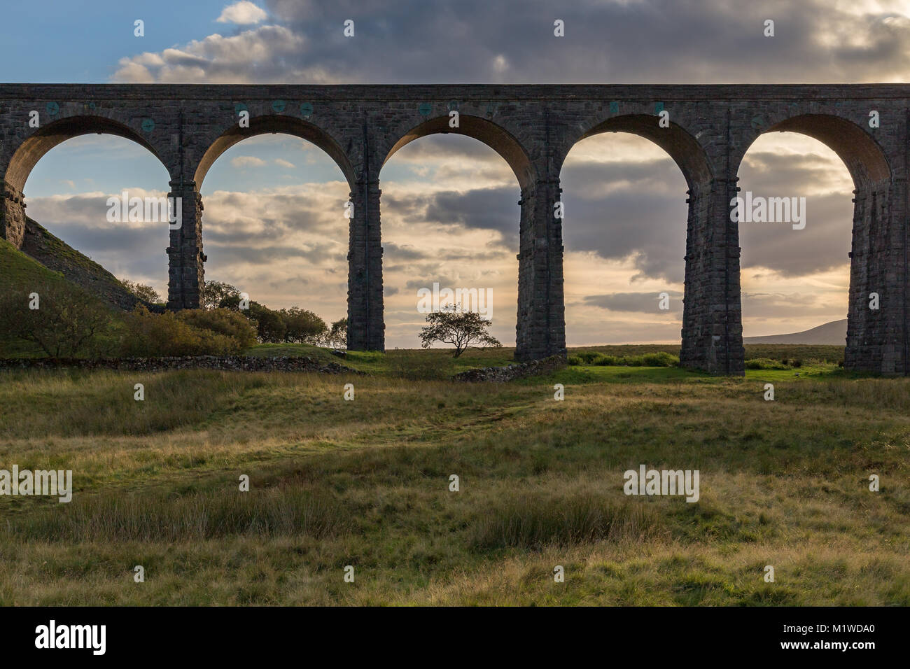Die ribblehead Viadukt auf der Settle-Carlisle Railway, in der Nähe von Ingleton in den Yorkshire Dales, North Stockbild