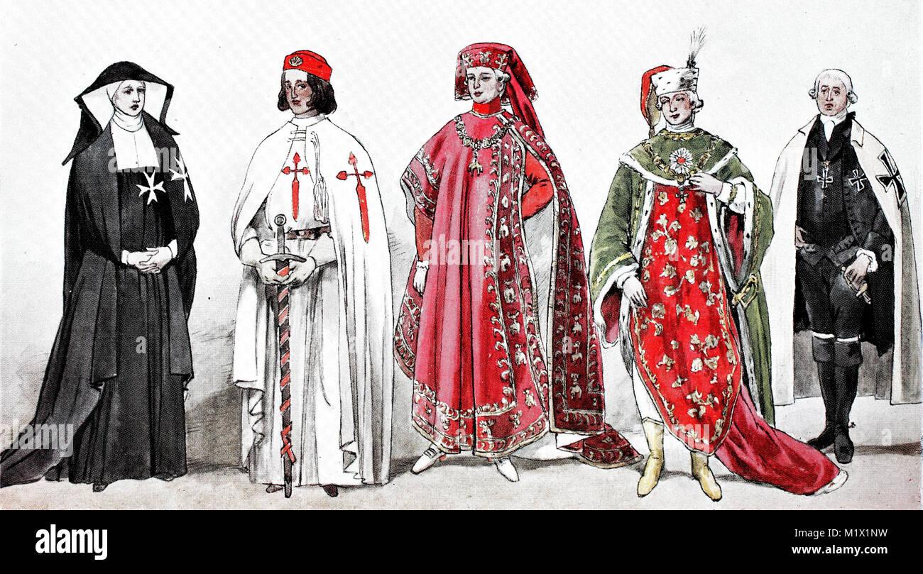 Bekleidung, Mode, Kostüme der Klerus und die Ordensleute Ritterorden vom 14.-18. Jahrhundert, von links, eine Stockbild