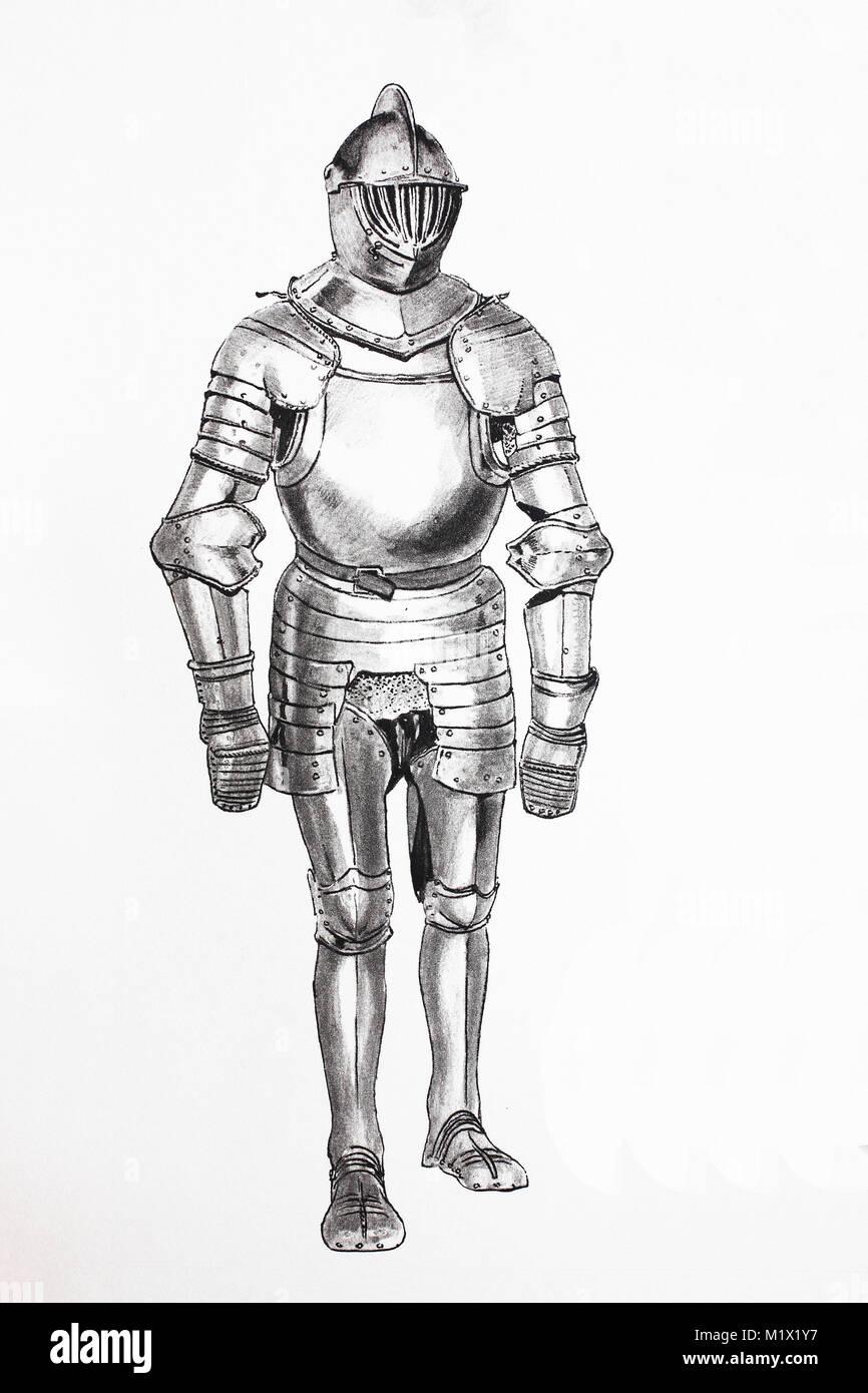 Mode, Kleidung, Ritter Rüstung im späten Mittelalter, deutschen ...