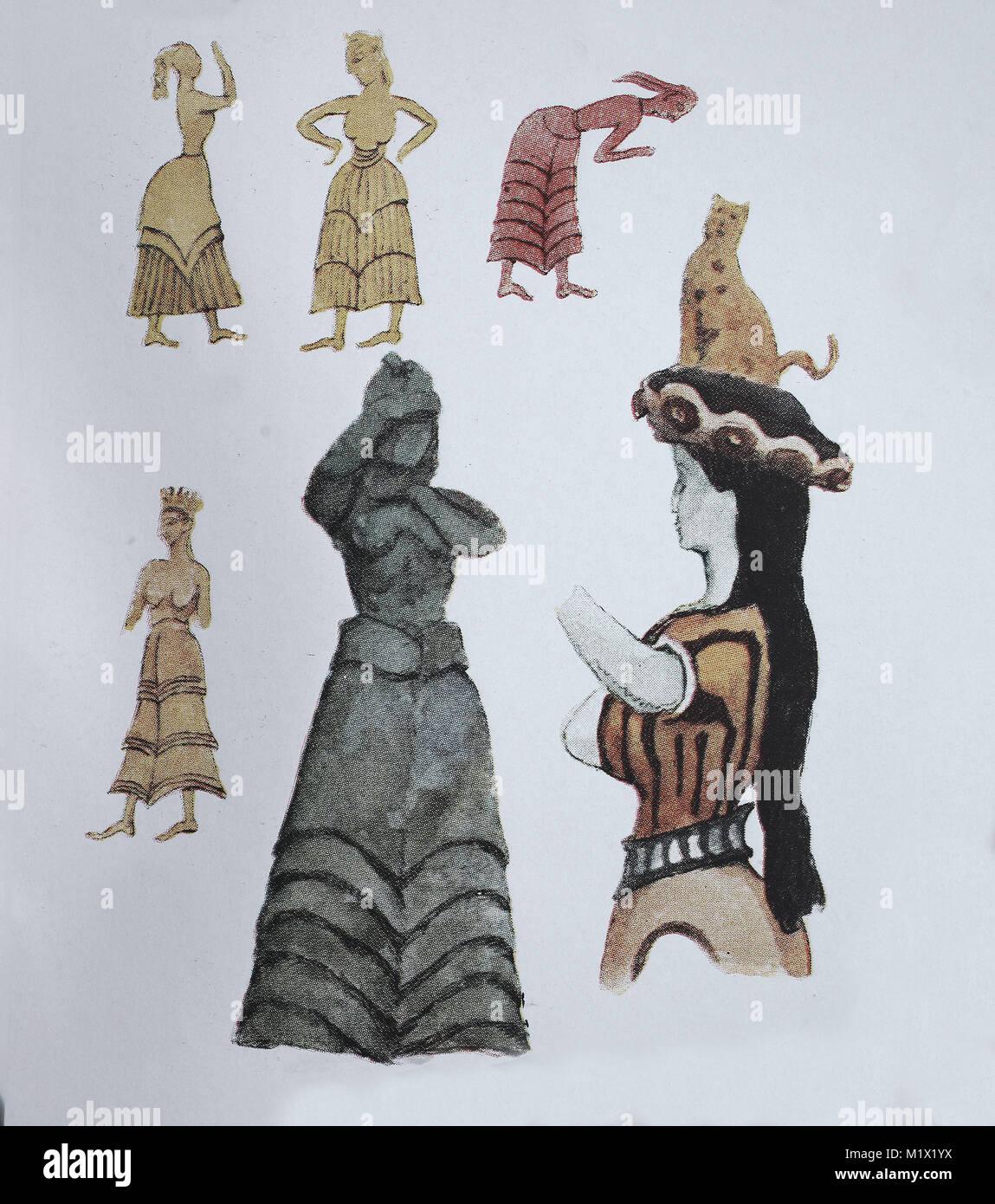 Mode, die Kleidung von Mykene, Kreta und Zypern, der Ägäis und ...