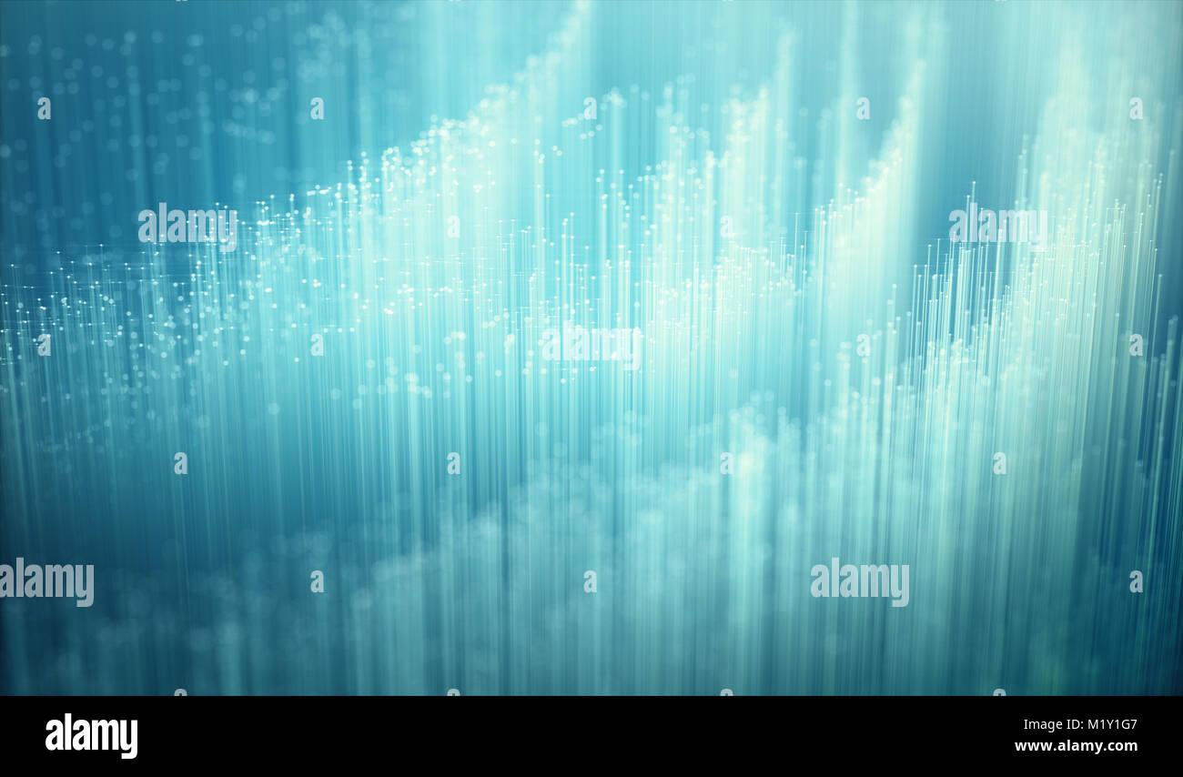 Fiber Optics, Hintergrundbild, Technologie Konzept der Datenübertragung und Kommunikation. Stockfoto