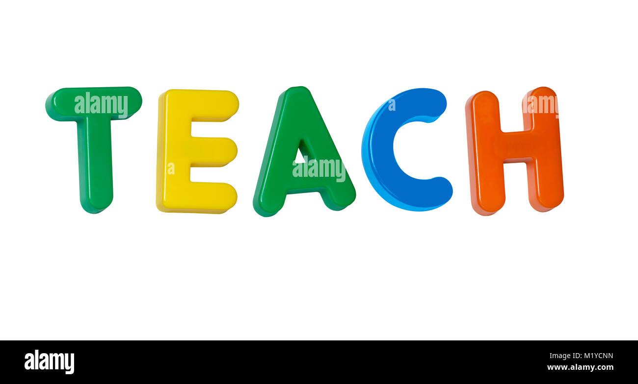 """Das Wort """"Teach"""" aus farbigem Kunststoff Buchstaben Stockbild"""