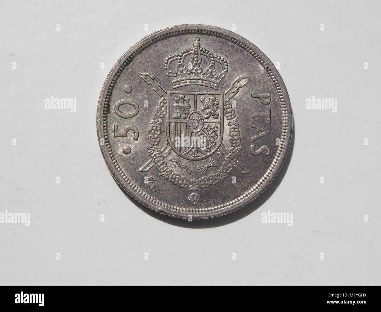 Eine Alte Spanische 50 Ptas Münze Stockfoto Bild 173324086 Alamy